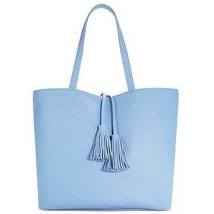 Macy's light blue tote bag with fringed tassels
